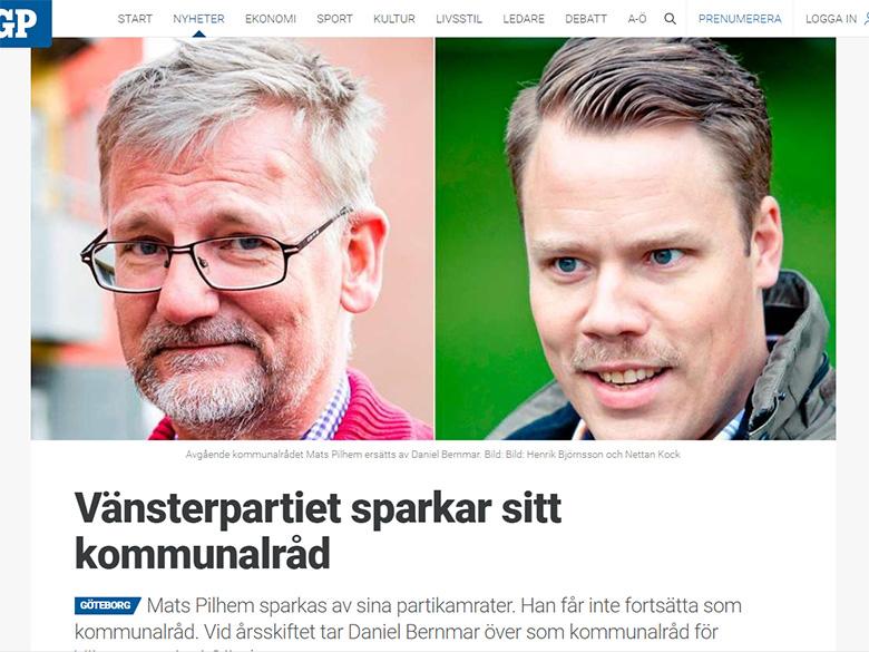 Skärmdump från nyhetsartikel på gp.se