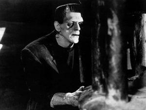 Bild ur filmen Frankenstein (1931) med skådespelaren Boris Karloff som monstret.